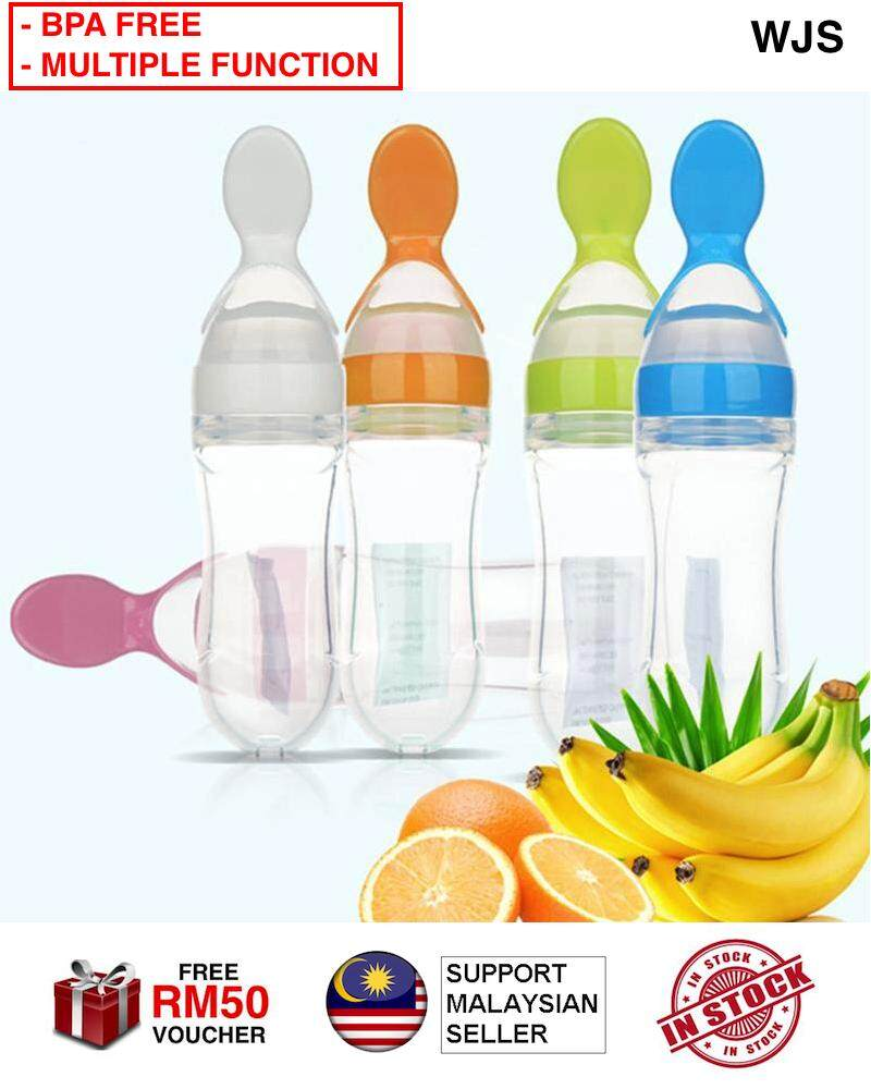 (BPA FREE MATERIAL) WJS 5 in 1 New Infant Baby Kids Silicone Training Spoon Bottle Silicone Feeder Food Rice Cereal Baby Feeding Bottle MULTICOLOR [FREE RM 50 VOUCHER]