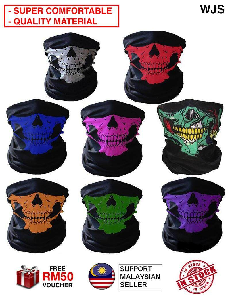 (SUPER COMFORTABLE + BREATHABLE) WJS Cotton Scarf Skeleton Neck Face Ghost Mask Skull Face Mask Face Neck Mask Halloween Mask Motorcycle Mask Riding Mask Bicycle Mask MULTICOLOR MULTIDESIGN [FREE RM 50 VOUCHER]
