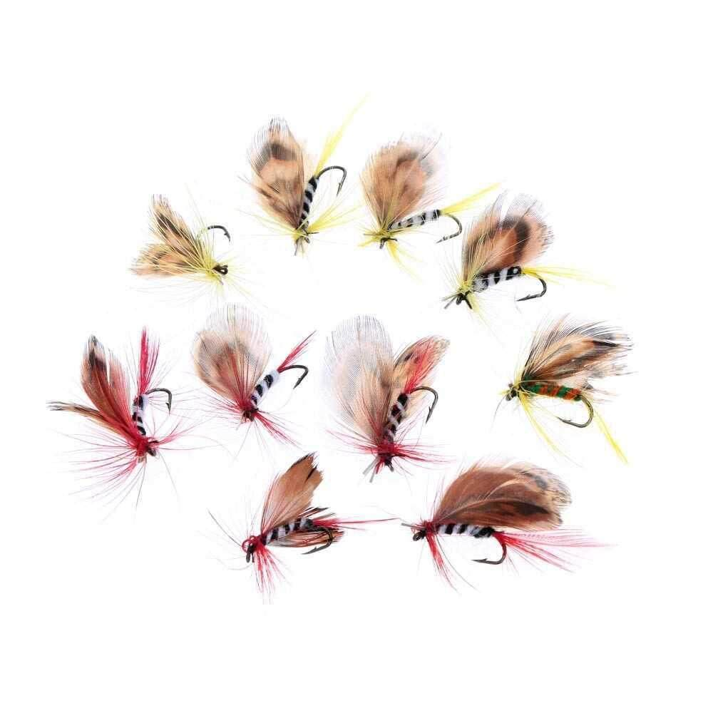 Lixada 10pcs Fly Fishing Hooks Carbon Steel Butterfly Style Fly Fishing Lure Set Artificial Bait with Box