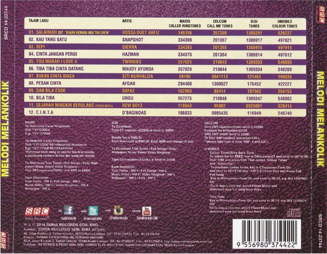 Melodi Melankolik CD Snapshot Twinnies Qierra Hazman Afgan Ungu Maudy Ayunda