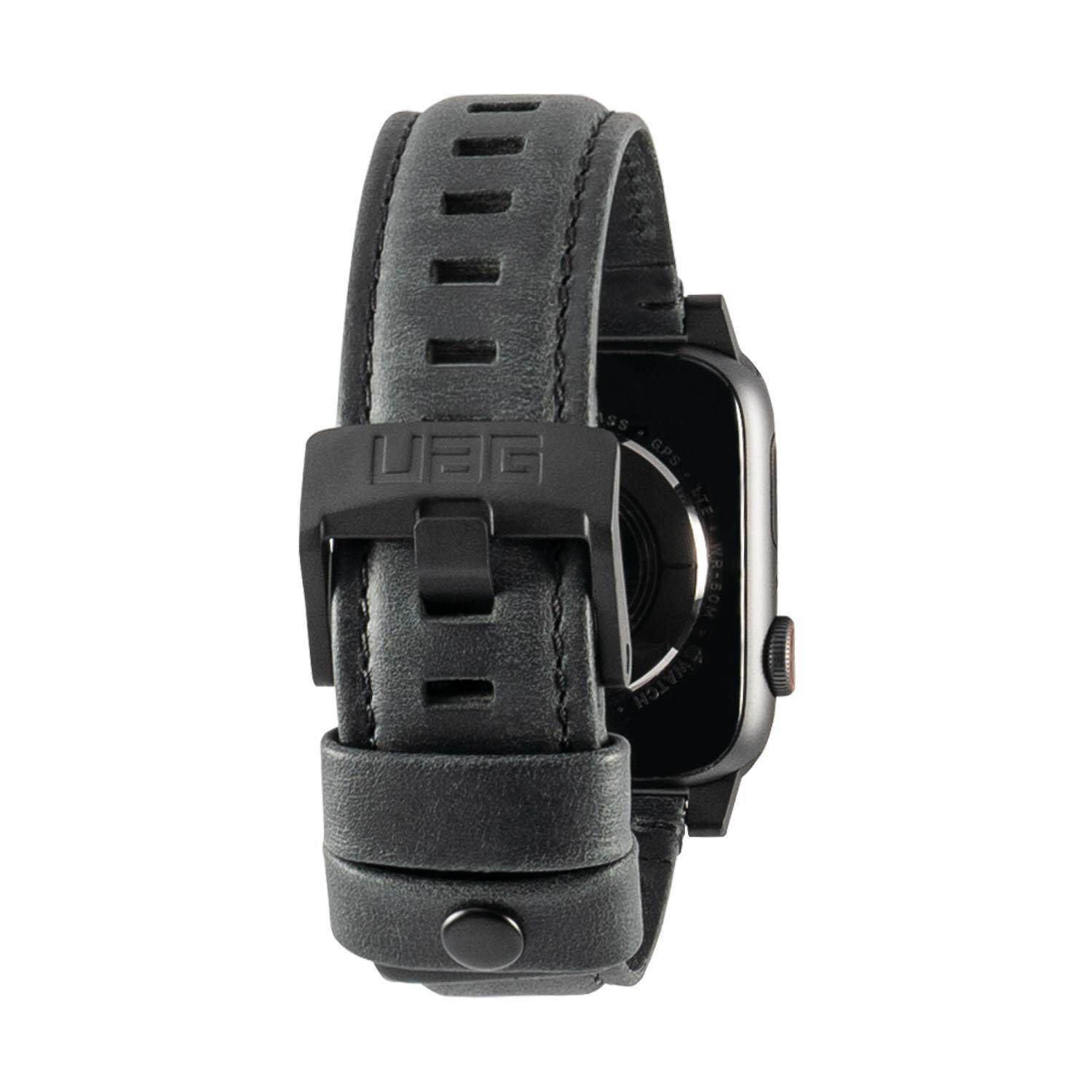Original UAG Leather Strap for Apple Watch 44mm & 42mm, Series 4/3/2/1, Black