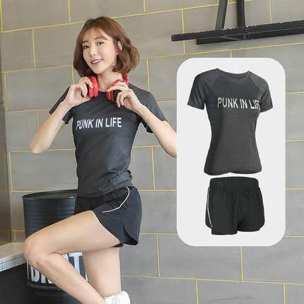 (Pre Order 14 days) JYS Fashion Korean Style Women Sport Wear Set Collection 540 - 8584 Grey top + black pant