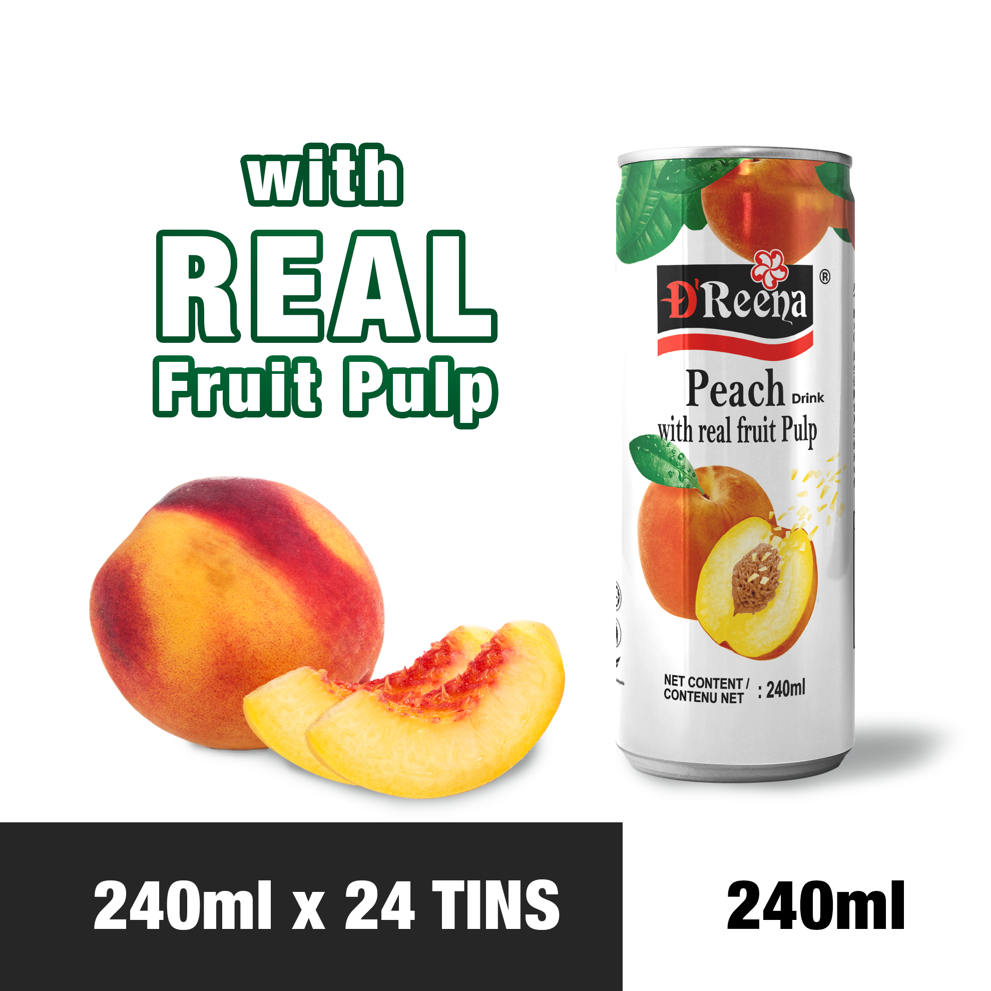 D'Reena Peach Drinks with Real Fruit Pulp (240ml x 24tins)