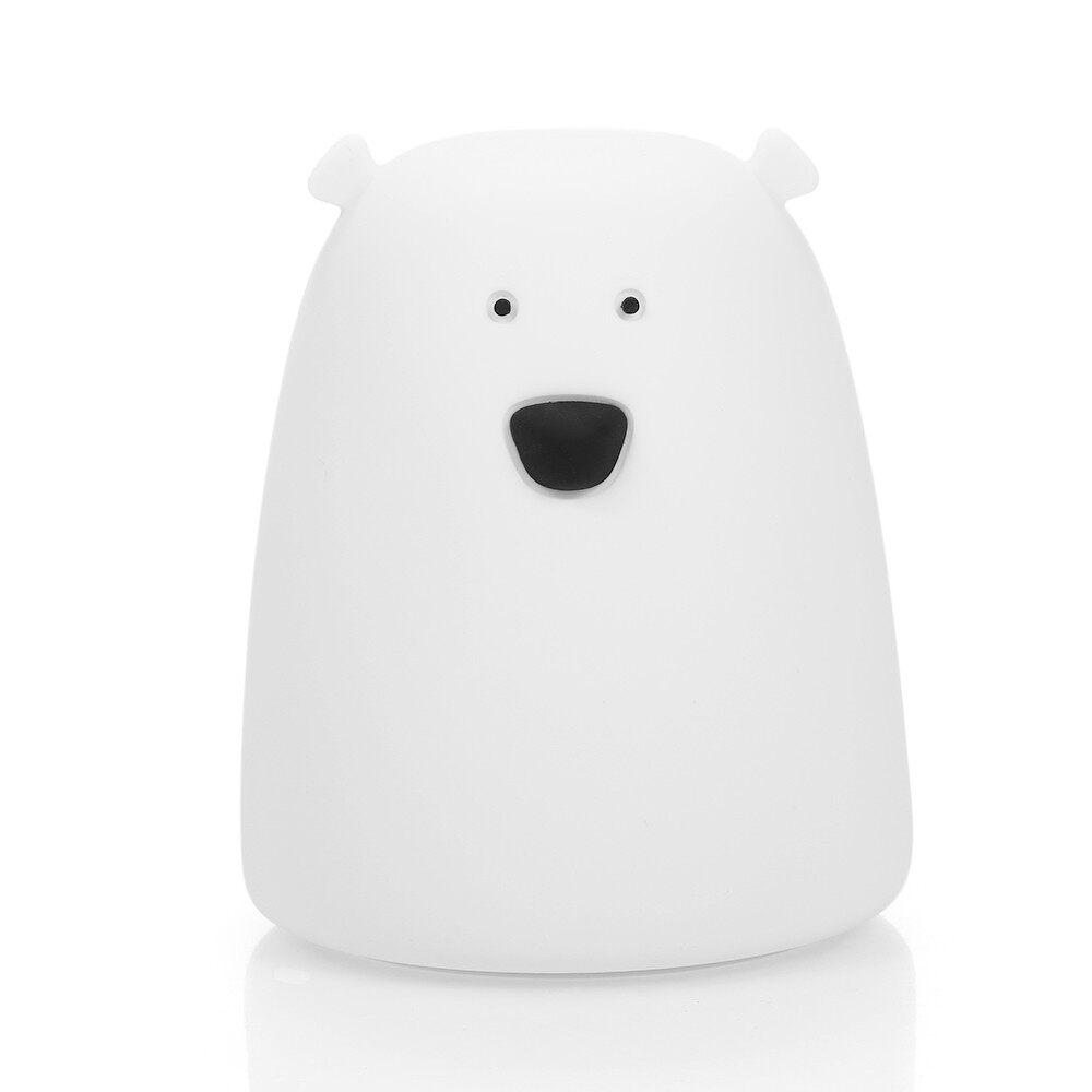 Lighting - MINI White Bear Night Light Cute Desk Light Bedside Lamp Colorful Light Color Ch - WHITE / PINK / POWDERBLUE