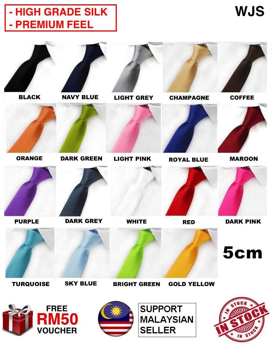 (PREMIUM SILK MATERIAL) WJS Professional Premium Men Neck Tie Men Tie Man Solid Color High Quality Unisex Necktie Female Tie Tali Leher WIDTH 5CM MULTICOLOR [FREE RM 50 VOUCHER]