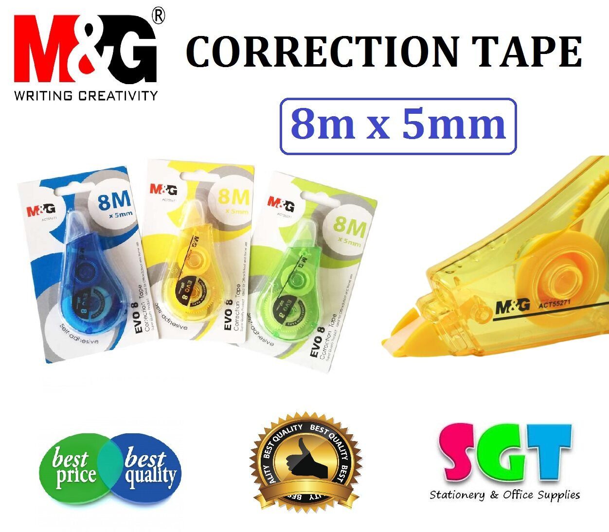M&G Evo 8 Correction Tape 8m x 5mm ( 1 PC Only )