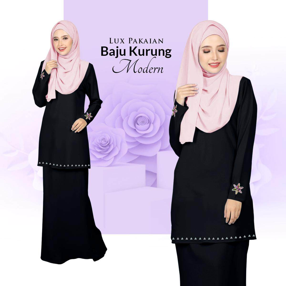 New Collection Lux Pakaian Baju Kurung Modern with Stylish Bunch & Batu Terkini