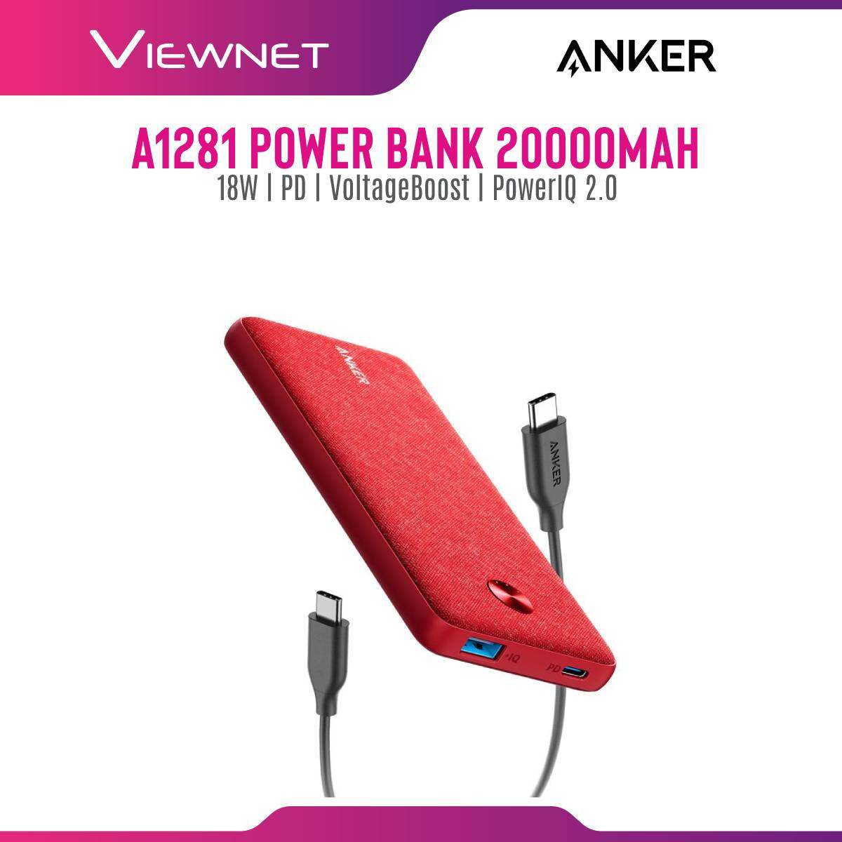Anker A1281 PowerCore Essential 20000 USB-C Power Delivery + PIQ2.0 Fast Charging Power Bank (20000mAh/18W)