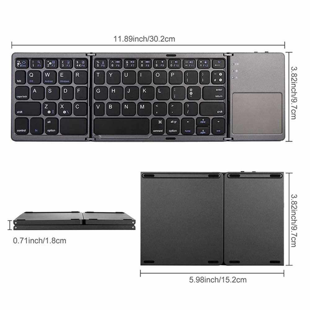 People's Choice Portable Mini Ultra Slim Thin Foldable Folding BT Cordless Keyboard with Touchpad for Mobile Phone PC (Black)