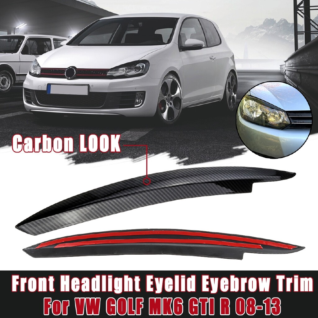 Car Lights - Carbon Look Front Headlight Eyelid Eyebrow Trims For VW GOLF MK6 GTI R 2008-2013 - Replacement Parts
