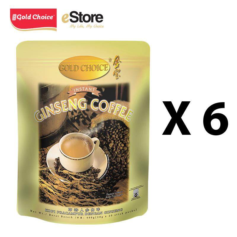 GOLD CHOICE Instant Ginseng Deluxe Coffee - (20g X 20'S) X 6 Packs In Bundle