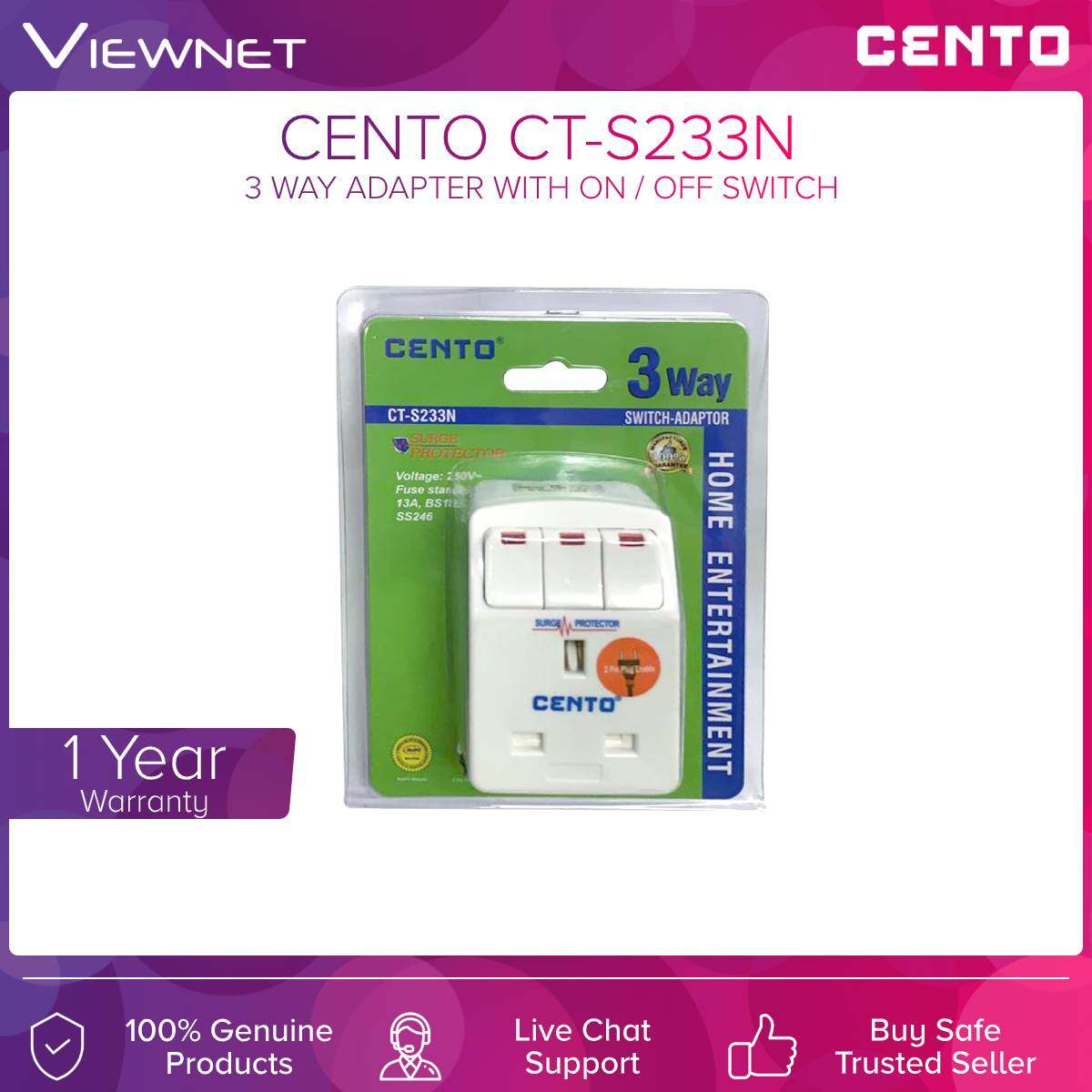 Cento (CT-S233N) 3 Way Adapter with On / Off Switch