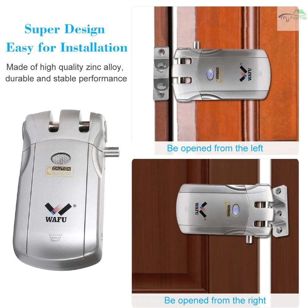 Chains & Locks - WAFU WF-018U WIRELESS Remote Control Lock Security Invisible Keyless Intelligent Lock Zinc Alloy - SILVER-2 / BLUE&SILVER-2 / BLUE&GOLD-2 / BLUE&GOLD-1 / BLUE&SILVER-1 / SILVER-1