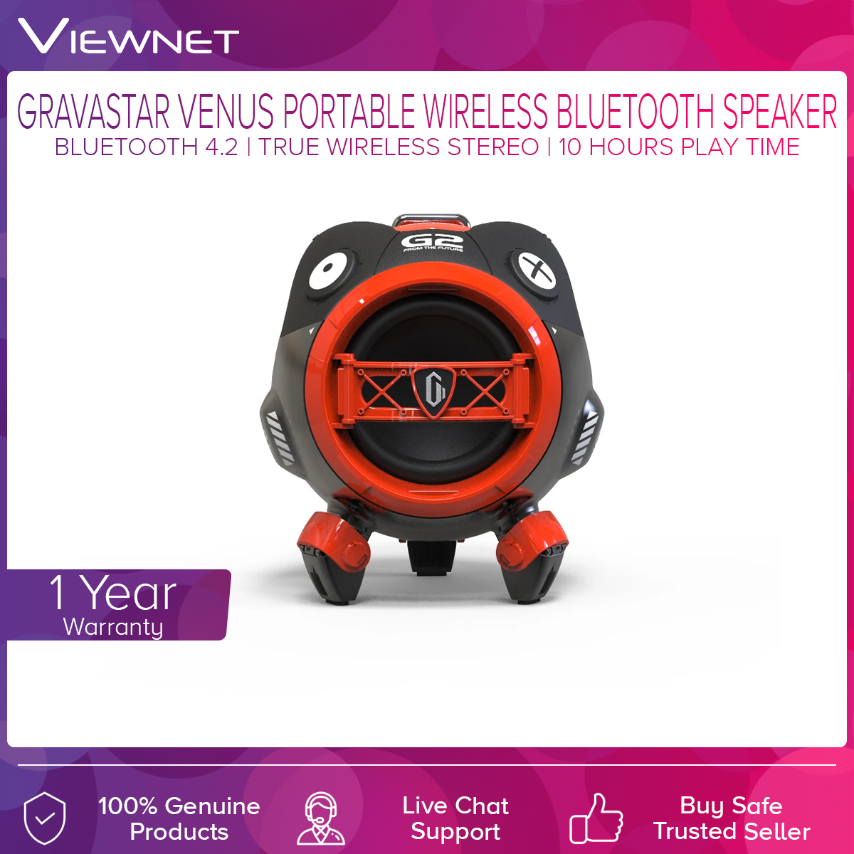 GravaStar Venus Wireless Bluetooth 4.2 Speaker, 10 Hours Play Time, 6 RGB Lights, Full-range subwoofer Drivers