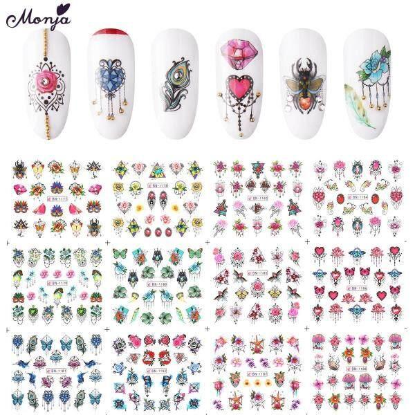 12 Tấm Nail Art Jewelry Bướm Loạt Chuyển Nước Sticker Flowers Pattern Watermark Nail Decals Trang Trí Làm Móng Tay giá rẻ