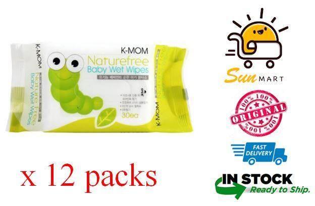K-MOM Naturefree Organic Premium Baby Wet Wipes - 30pcs x 12 packs