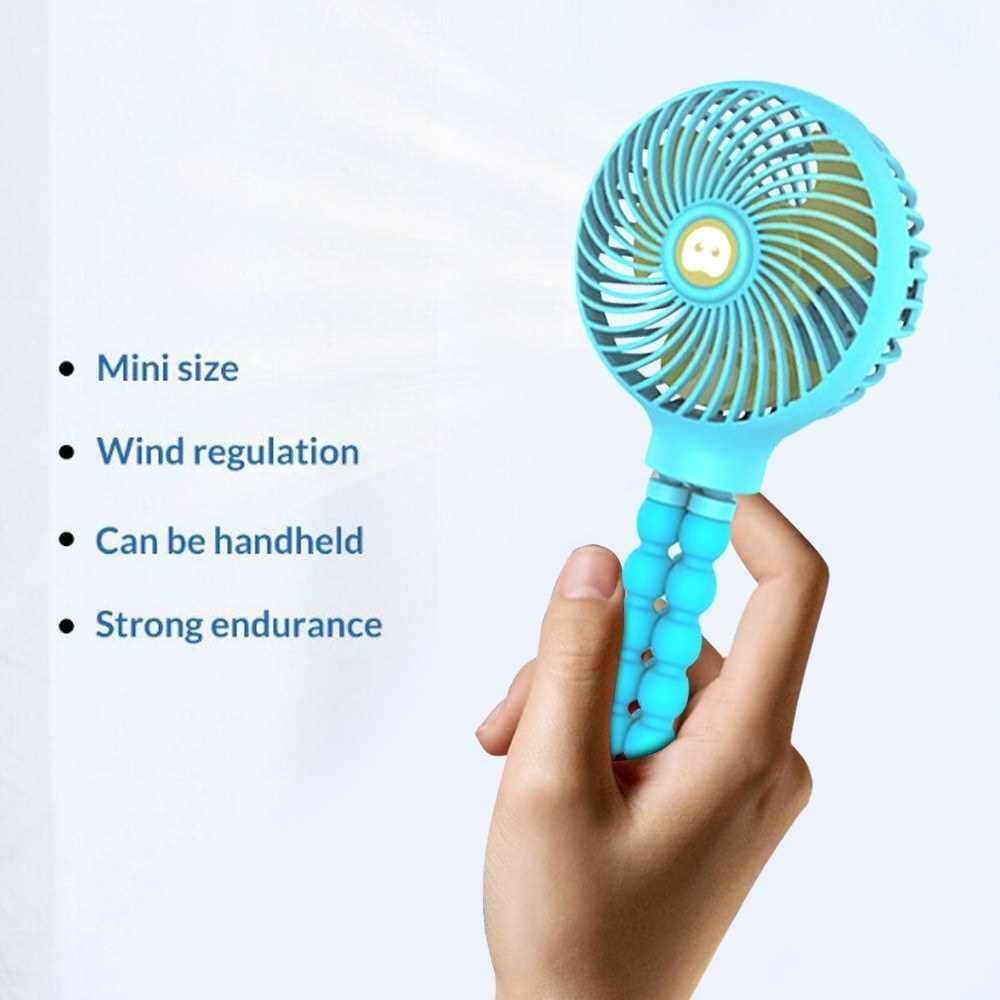 Mini Handheld Stroller Fan Portable Desktop Air Fans with Flexible Tripod 3 Gear Wind Speed Rechargeable Cooling Fan (Blue)