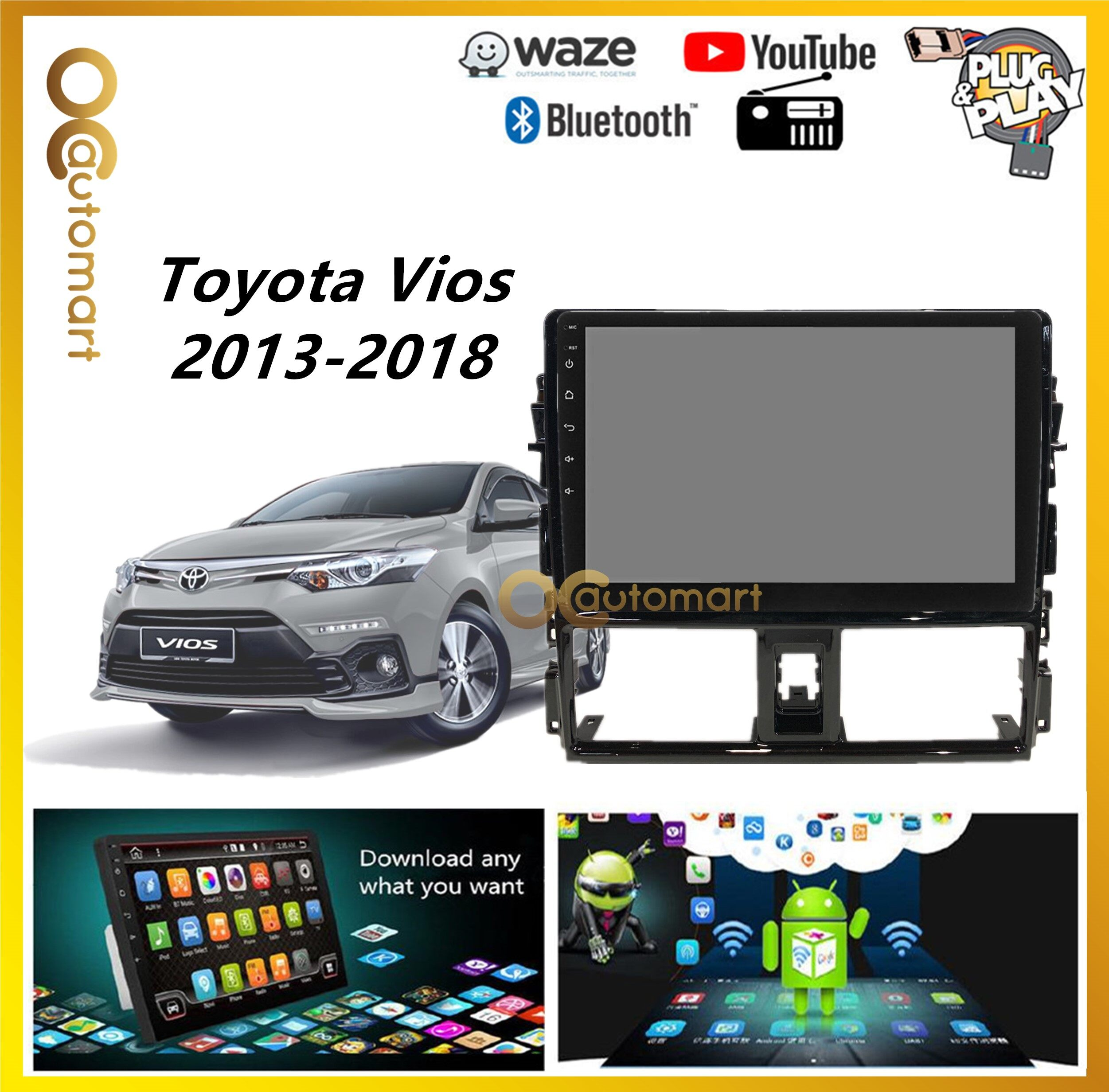 Toyota Vios 2014 - 2018 Android Player With Casing IPS Screen 1GB Android 8.1 Plug and Play With WIFI And TouchScreen MP3 MP4 MP5 CD FM USB SD BT (NO DVD)