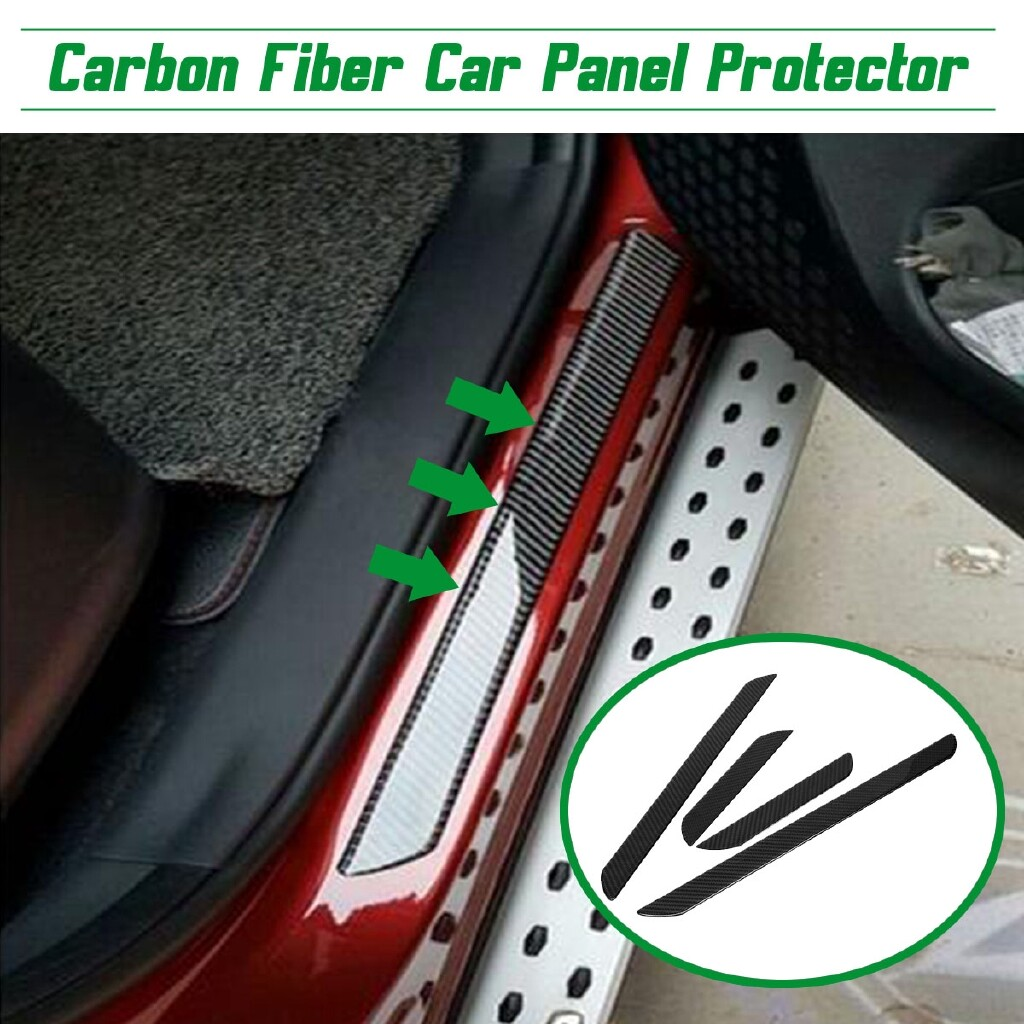 Floor Mats - 4 PIECE(s) Carbon Fiber Car Scuff Plate Door Sill Cover Panel Step Protector Guard - Car Accessories