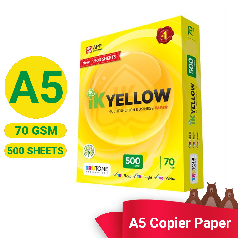 IK Yellow Paper A5 Size 70gsm  500 Sheets (Per Ream)  Printing Paper White A4 Paper Photocopy Ink-Jet Laser Fax Machine