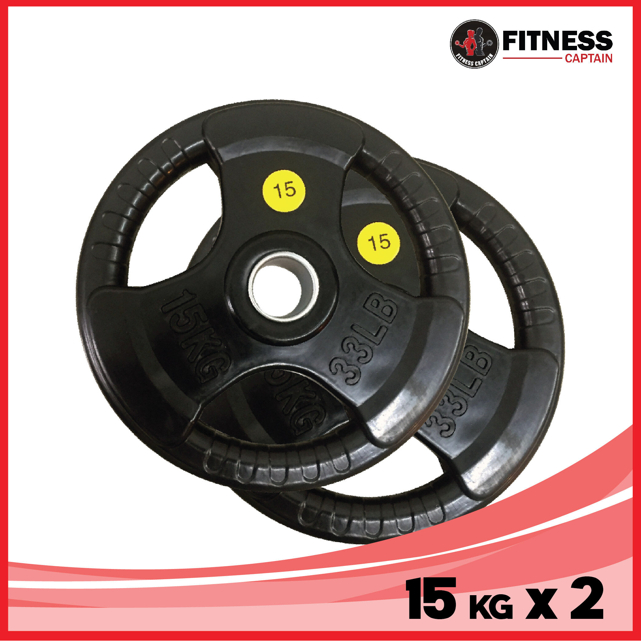 Fitness Captain 15kg Set of 2 ( 2 x 15kg ) Gym Olympic Rubber Weight Plate