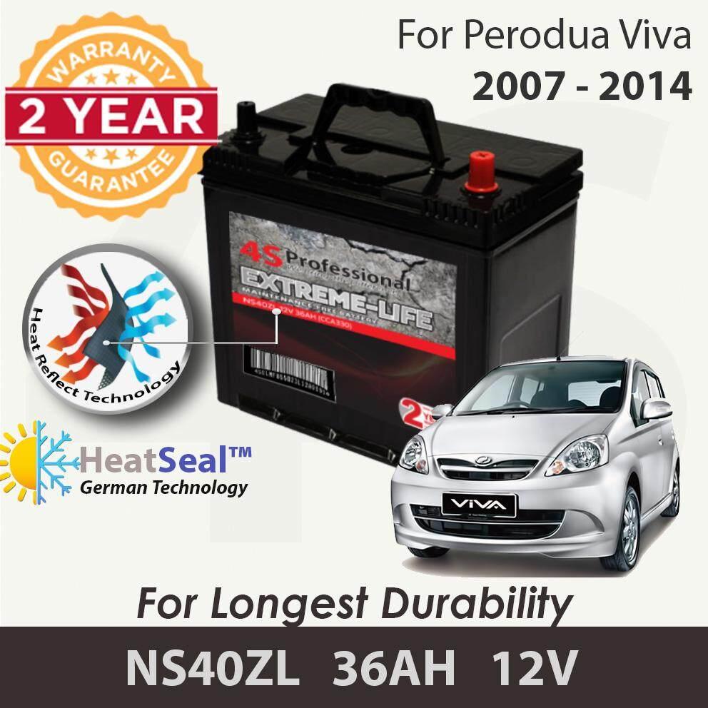[Free Self-Installation Kit] Perodua Viva 2007-2014 NS40ZL (36B20L) 4S Professional Extreme-Life MF Maintenance Free Car Battery (24 months Warranty) equal to NS40 Amaron Go /GP MF Gold / Varta Silver /Century Gold
