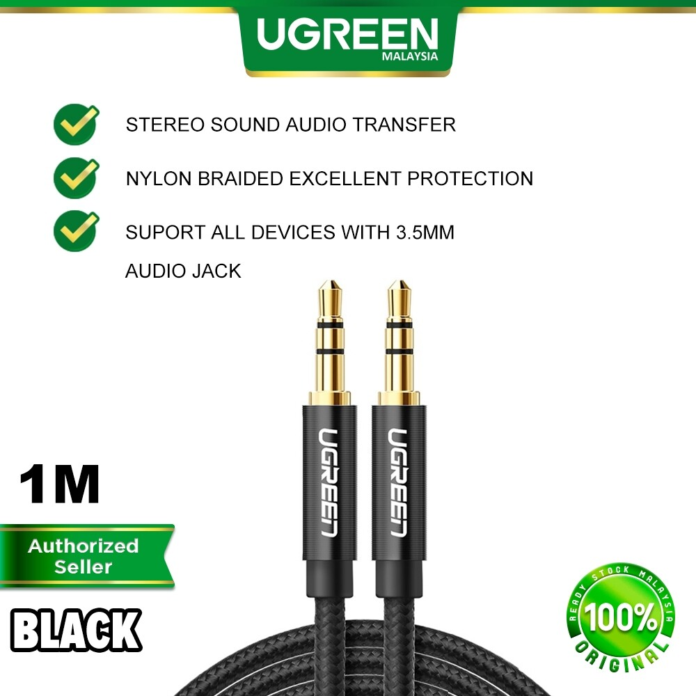 UGREEN Headphone Aux Cable 3.5mm Audio Male to Male Stereo Converter Adapter Sound Wire Gold Plated Nylon Braided Cord Apple iPhone iPad Samsung Huawei Oppo Vivo Realme PC Laptop Headset Tablet Amplifier MP3 MP4 Car Audio 1 2 3 Meter