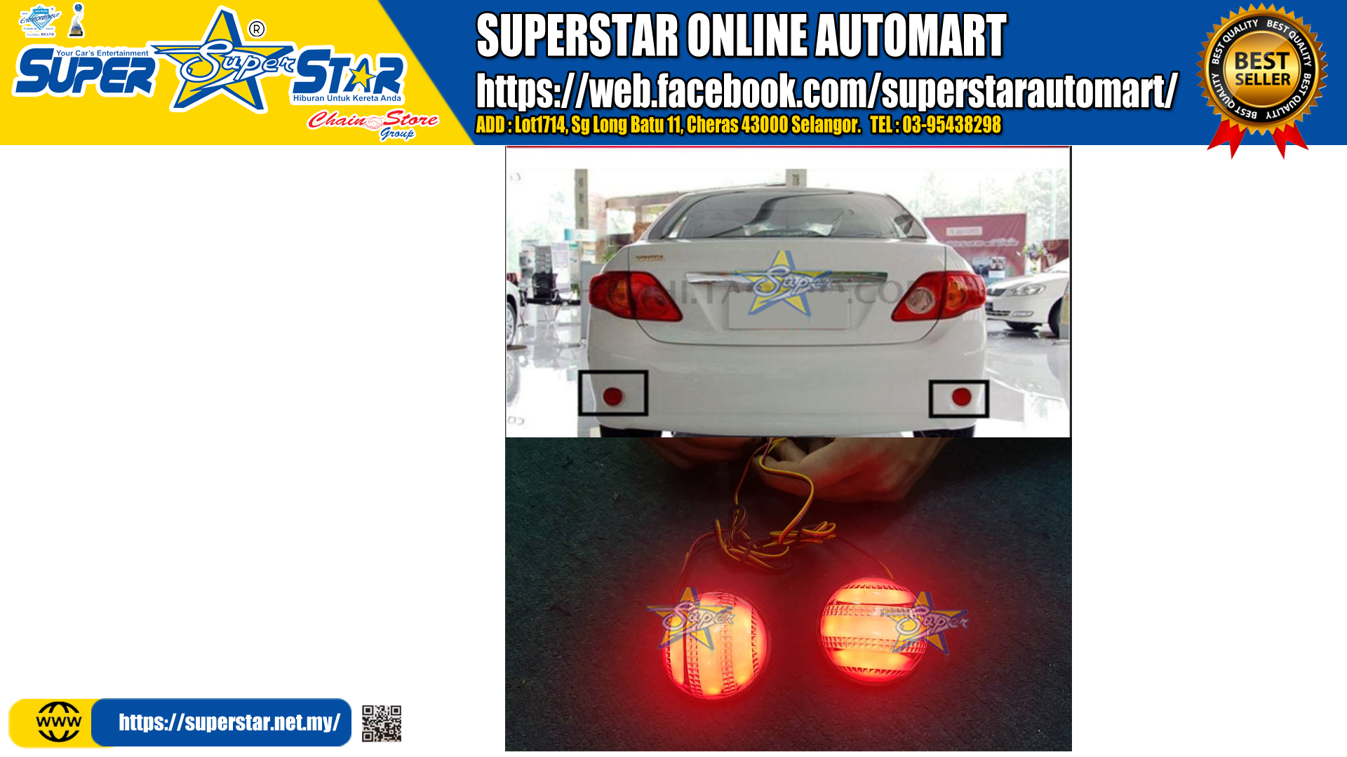 High Quality For Toyota Corolla 2007 2008 2009 2010 Reflector LED Back Tail Rear Bumper Light Brake Lamp Light (white)
