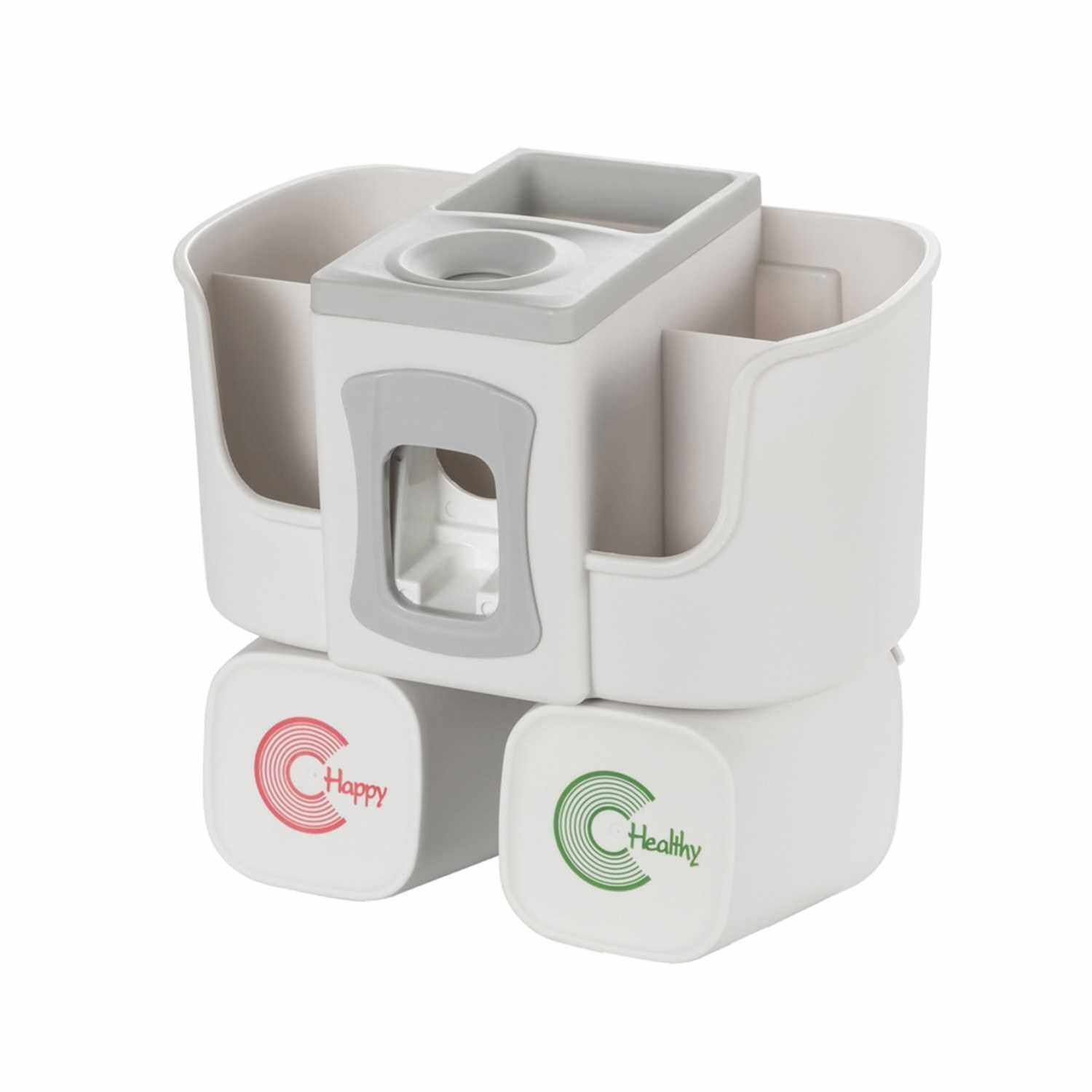 Automatic Toothpaste Dispenser Toothbrush Holder Multifunctional No Drilling Wall-Mounted Space-Saving Toothbrush Hanger and Toothpaste Squeezer Kit Organizer with 2 Cups (White)