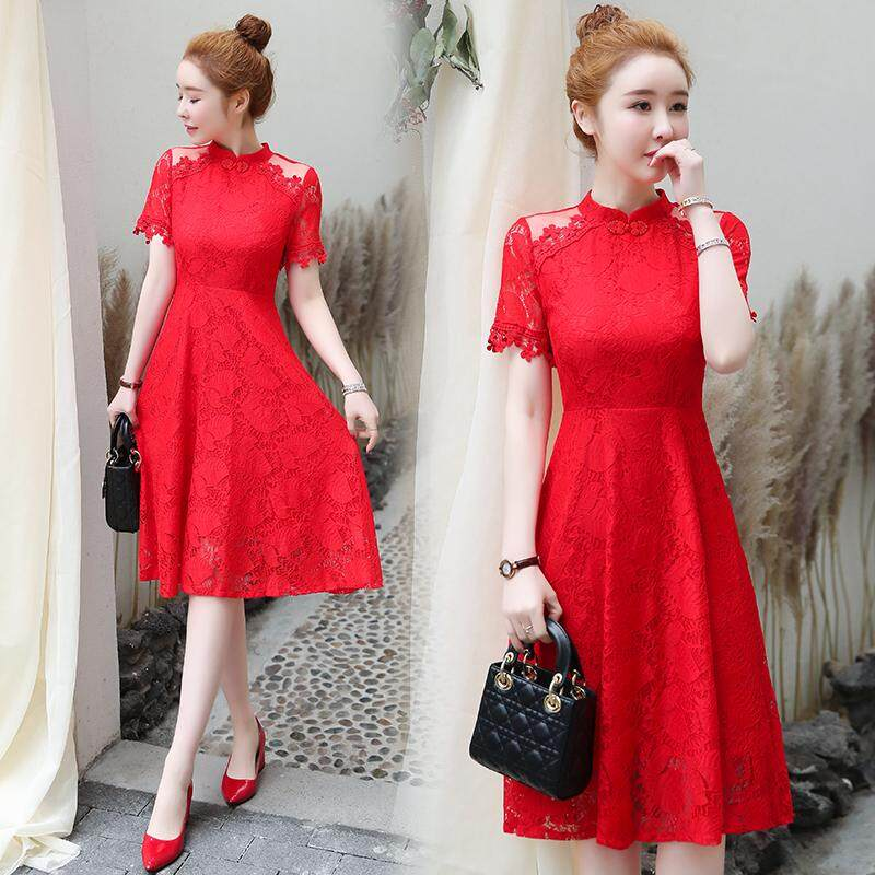 (Pre Order14 Days JYS Fashion Korean Style Women CNY Festive Red Cheongsam Collection-5263468col526-3468--Red -M