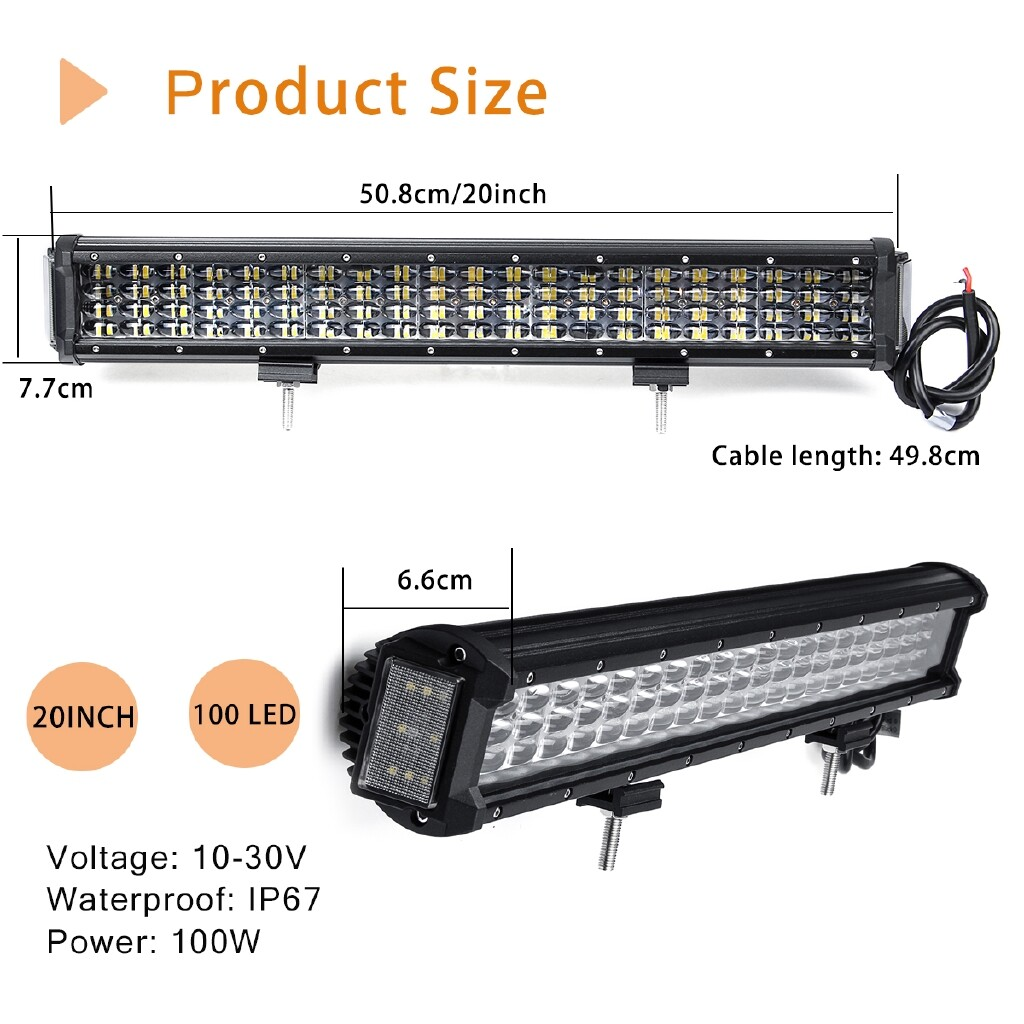Car Lights - 20'' 100LED Work Light Bar 100W Combo Driving Lamp Offroad Truck SUV ATV 4WD - Replacement Parts