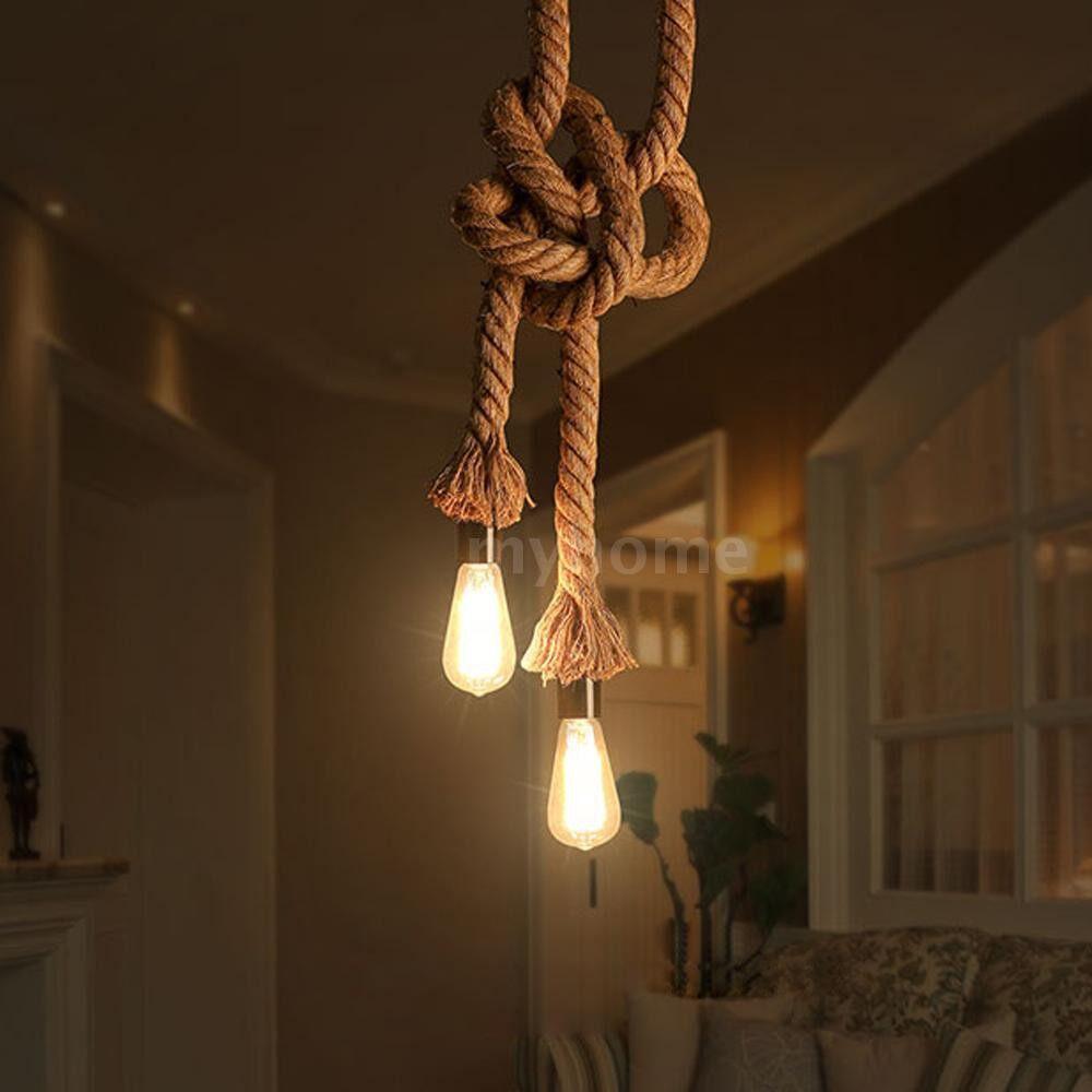 Lighting - 450cm AC220V E27 Double Head Vintage Hemp Rope Hanging Pendant Ceiling Light Lamp Industrial - 450 CM / 400 CM / 350 CM / 300 CM / 250 CM / 200 CM / 150 CM / 100 CM
