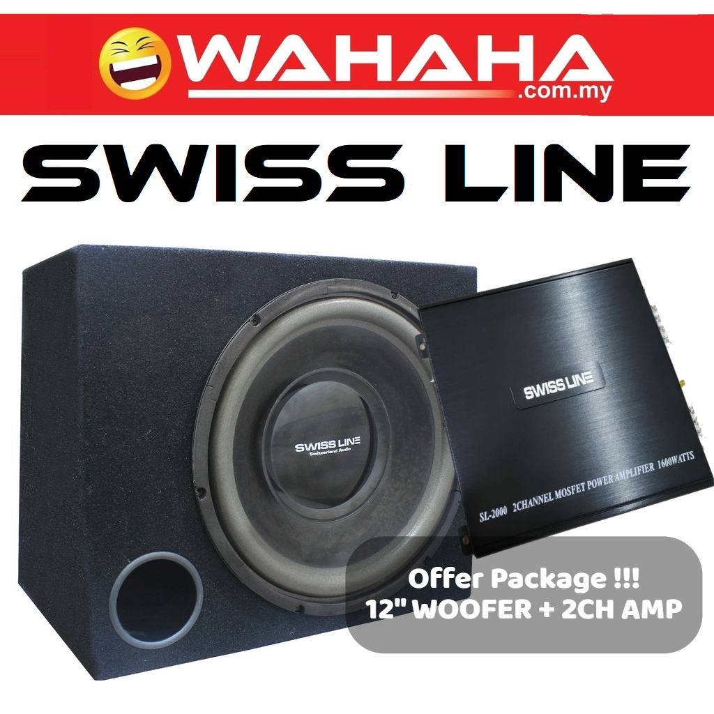 SWISS LINE SL-2000 Car Amplifier 1600 Watts 2-CH Channel High Performance Power Car Amp for Car Speaker 2ch amp + SWISS LINE 12S4B 12'' HI-POWER SUBWOOFER CAR WOOFER BOX