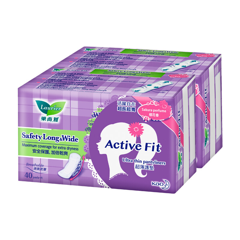 Laurier Active Fit Safety Long & Wide Sakura Perfume Pantyliners Twin Pack - (40's)