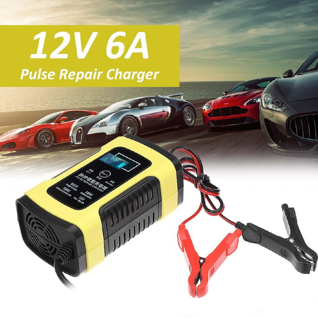 Chargers - 12V LCD Pulse Repair Car Motorcycle Vehicle Full Automatic Charger - Cables