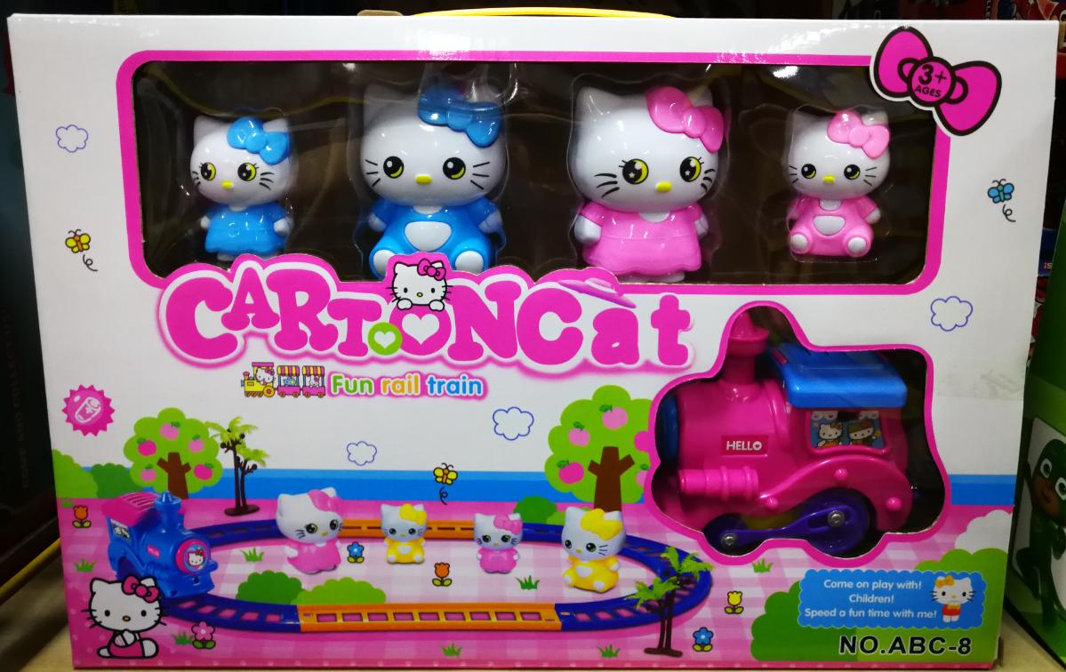 Kids Toy - Hello Kitty Cartoon Cat Fun Rail Train Toys for girl