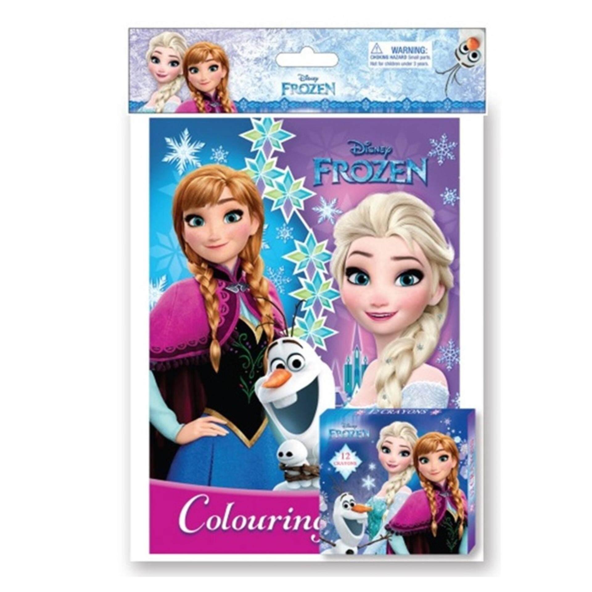Disney Princess Frozen Activity And Colouring Book With 12pcs Crayon Set - Purple And Blue Colour