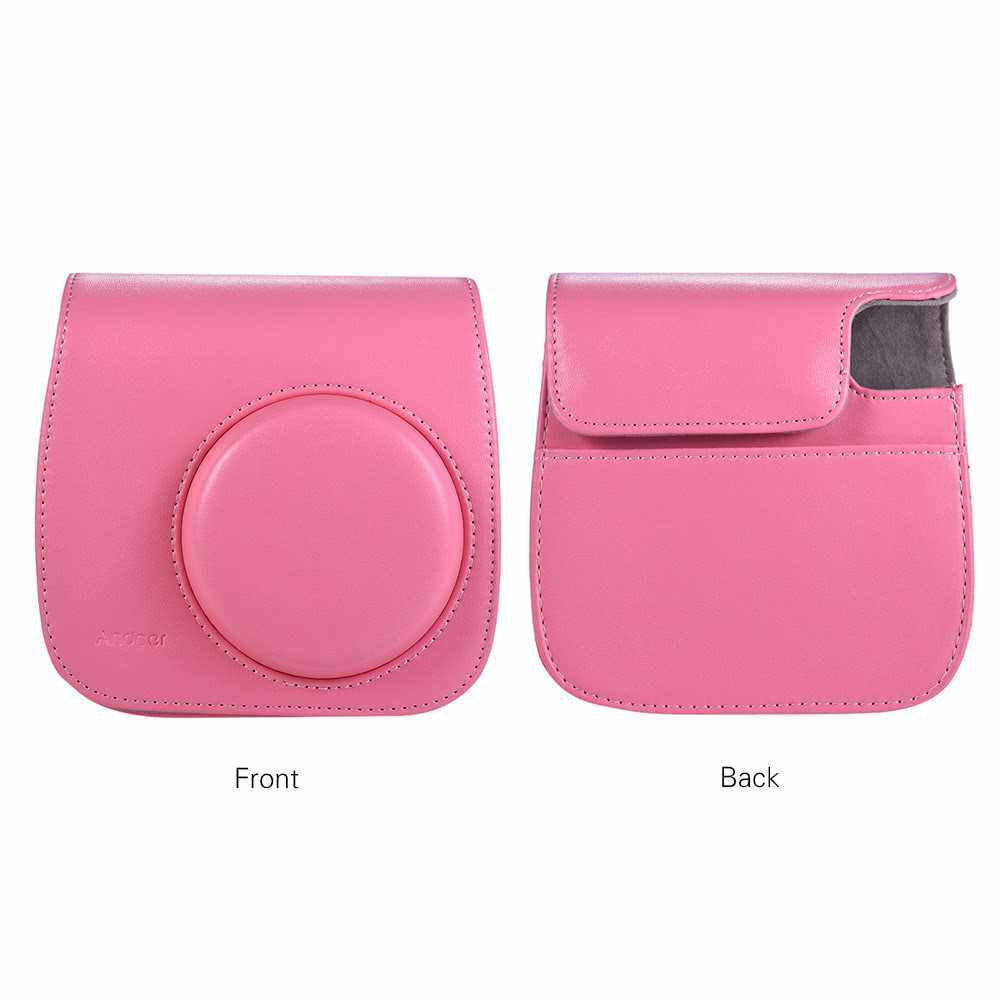 Andoer PU Instant Camera Case Bag with Strap for Fujifilm Instax Mini 9/8/8+/8s Smokey White (Pink)
