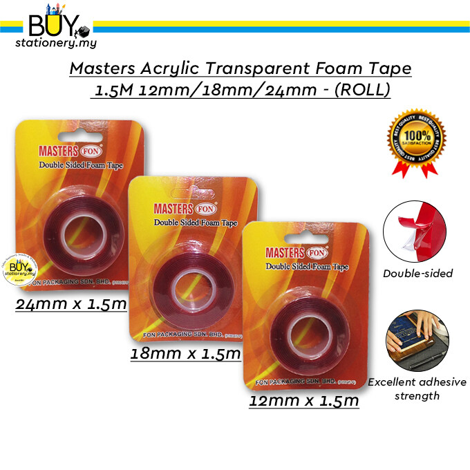 Masters Acrylic Transparent Double-sided Foam Tape 1.5M 12mm /18mm/24mm-(ROLL)