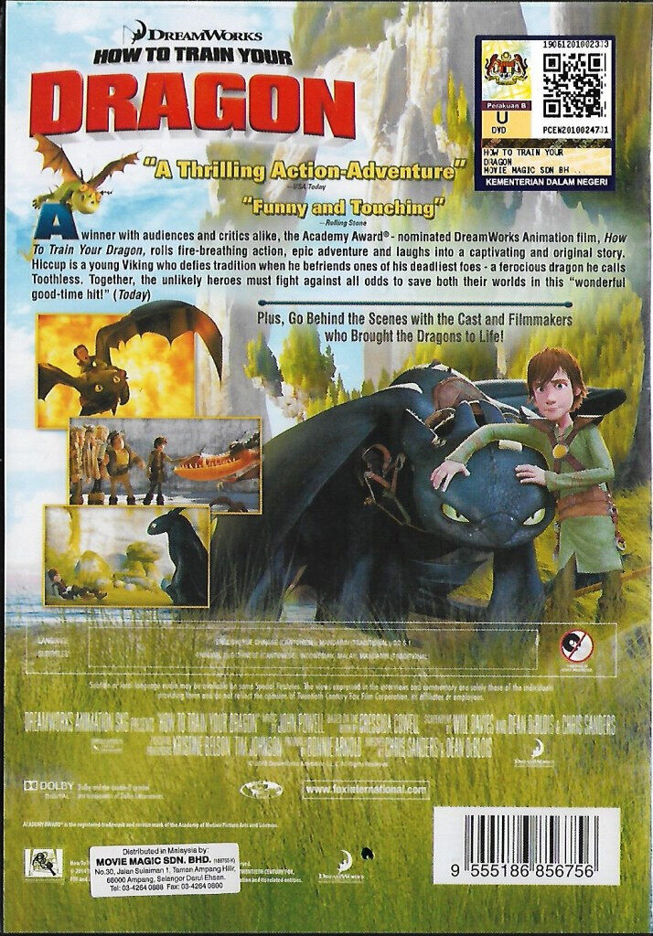 English Animated Movie How To Train Your Dragon 1 DVD Dreamworks
