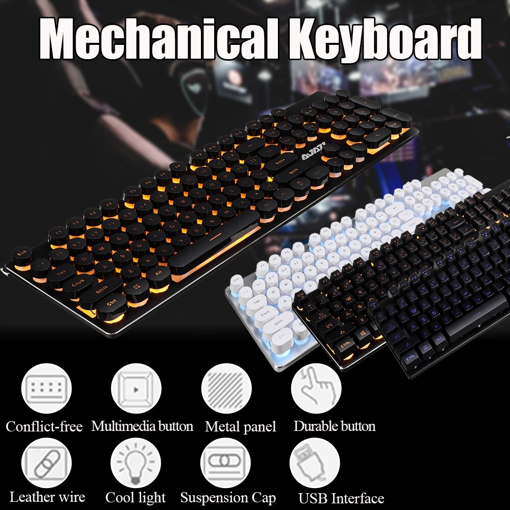 DIY Tools - ORIGINAL Ajazz Home Mechanical USB Wired Backlight Gaming Keyboard - Home Improvement