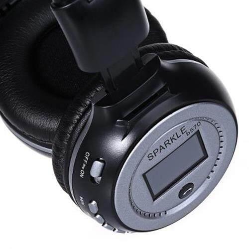 ZEALOT B570 LED DISPLAY SCREEN WIRELESS STEREO BLUETOOTH V4.0 EARPHONES WITH FM RADIO TF CARD SLOT (BLACK AND GREY)