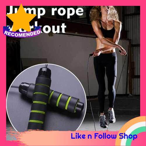 Jump Rope Fast Rope Skipping Adjustable Foam Anti Skid Handle skipping rope New Fitness speed rope for Men and Women Suitable for Aerobic Exercise (Green)
