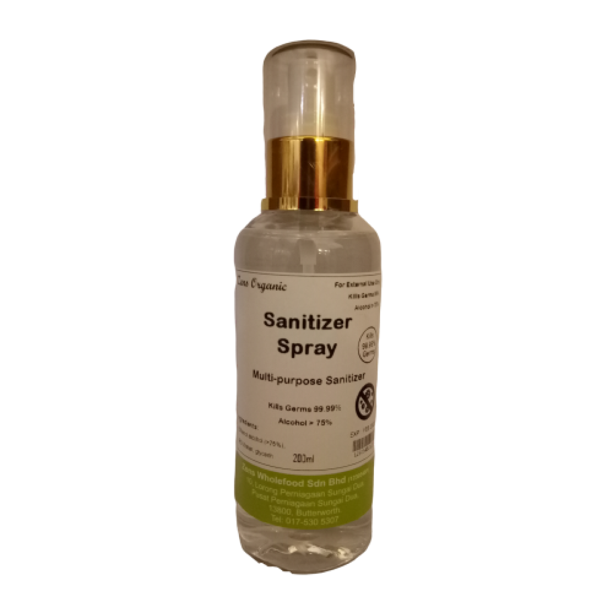 Zens Organic Multi-Purpose Sanitizer Spray 200ml ( Ethanol 75% above, contains glycerin )