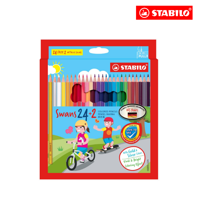 **SPECIAL EDITION** STABILO® Swans Colored Pencils Safe to Use Smooth Colouring Vivid Colors for Children (24+2 colours)