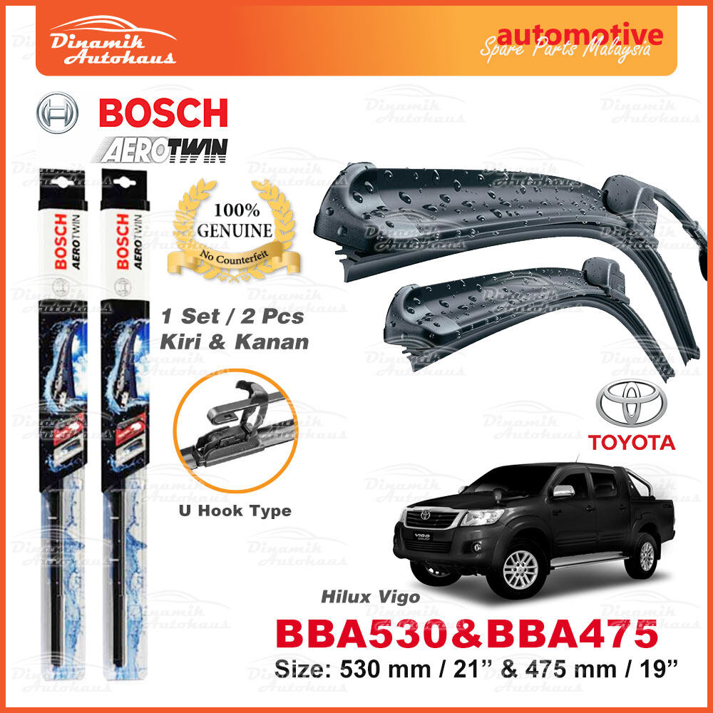 "Toyota Hilux Vigo Car Front Windshield Wiper Blade 21"" / 19"" - Bosch U Hook AeroTwin BBA530 & BBA475 (1 Set)"