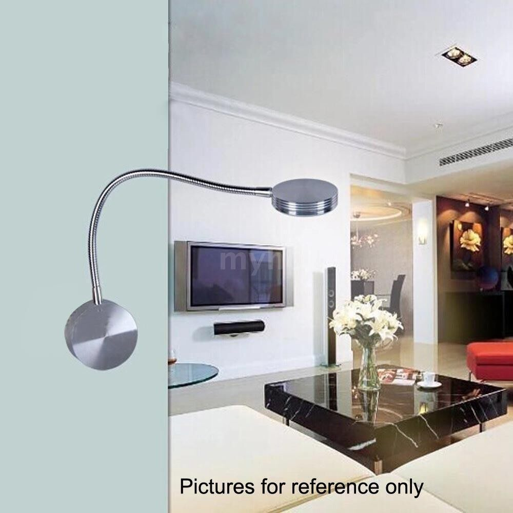 Outdoor Lighting - LED Bedside Lamp Reading Wall Lamps Soft Tube Adjustable 1W Background Mirror Light Flexible - SILVER-2
