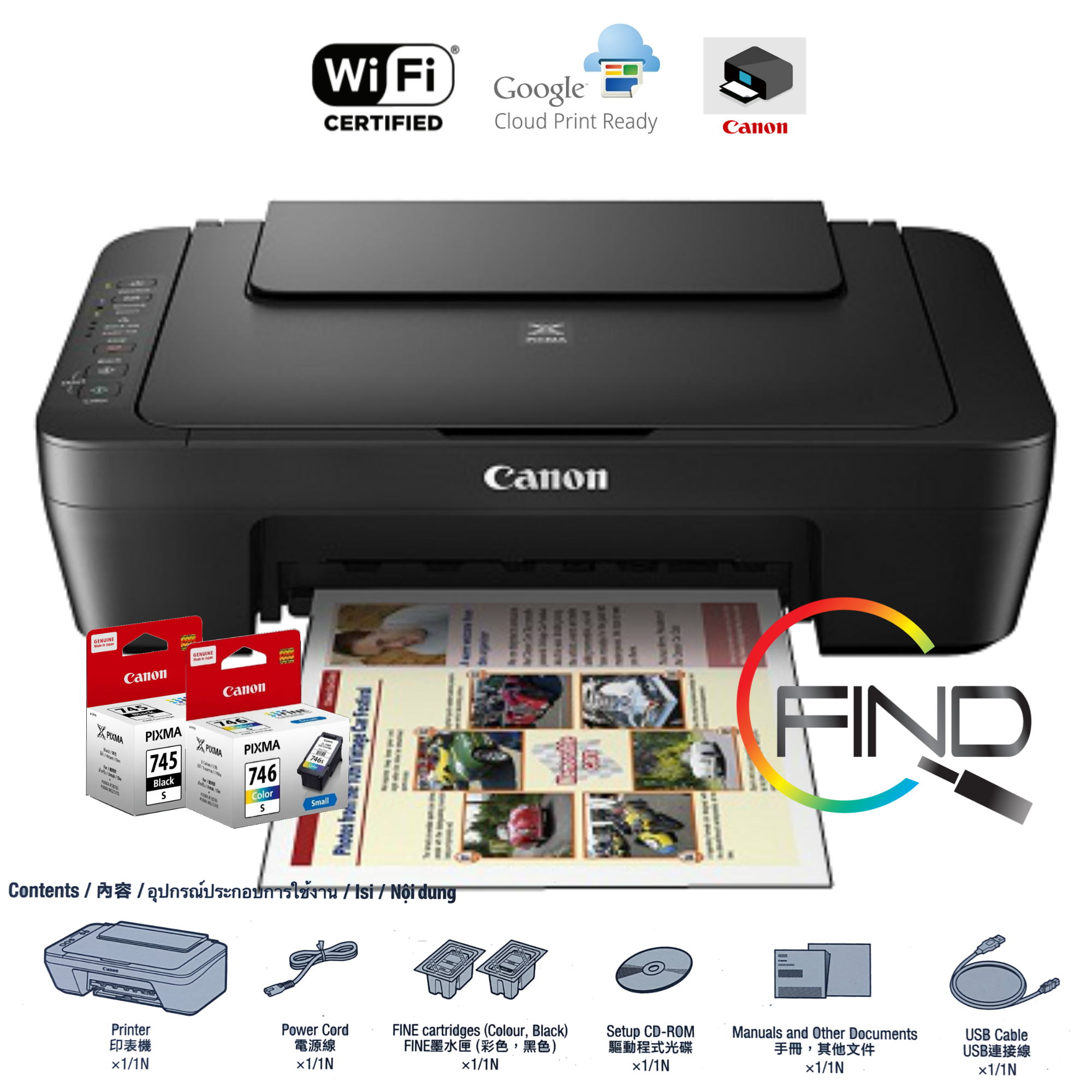 Canon Pixma MG3070S WIFI Wireless All-In-One Home Use Colour InkJet Printer (Print/Scan/Copy) Support Direct phone print (FINDC)