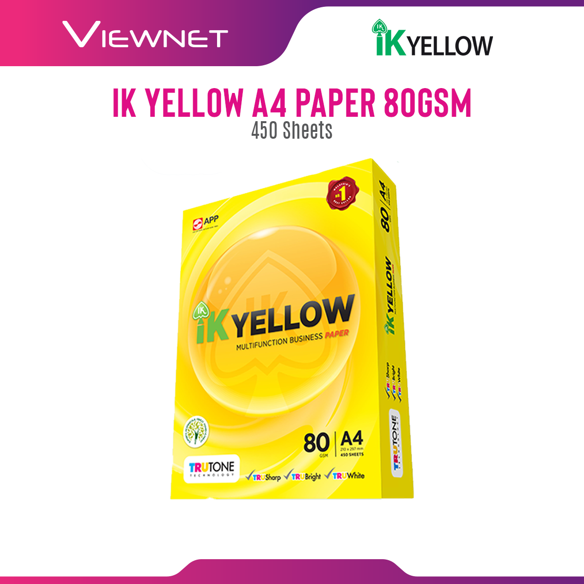 IK Yellow A4 70gsm/80gsm Multifunction Business Copier Paper (450 Sheets) Suitable for Photocopier, Laser Printer, Fax Machine, Ink-jet Printer, & 2 Side Copying