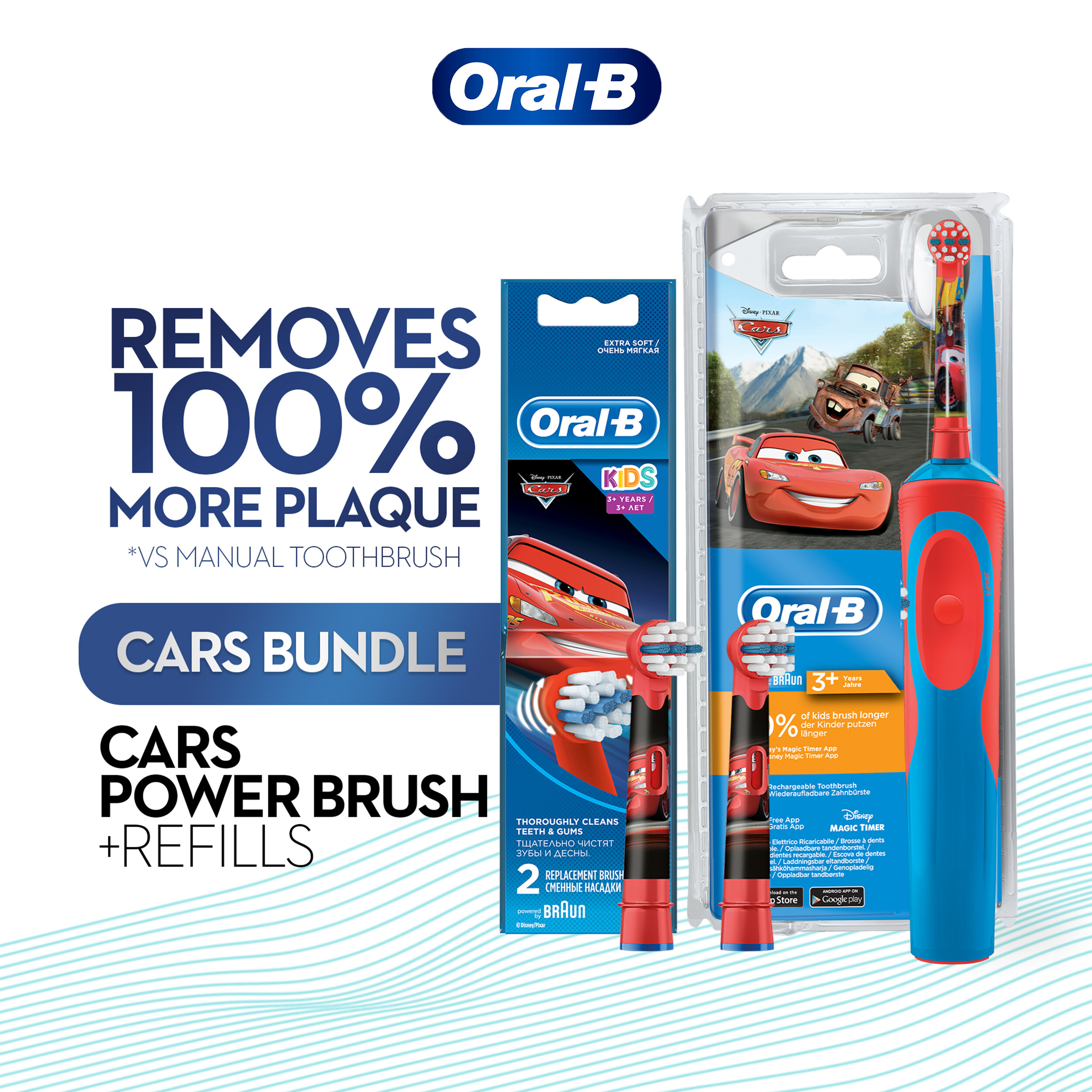 Oral-B Kids Car Rechargeable Toothbrush + Refill 2 count